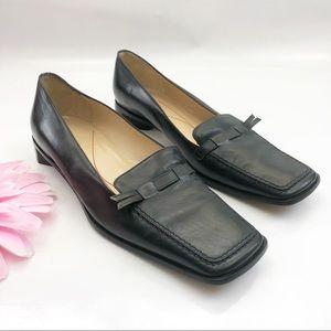 Kate Spade Leather Slip On Loafers: Black